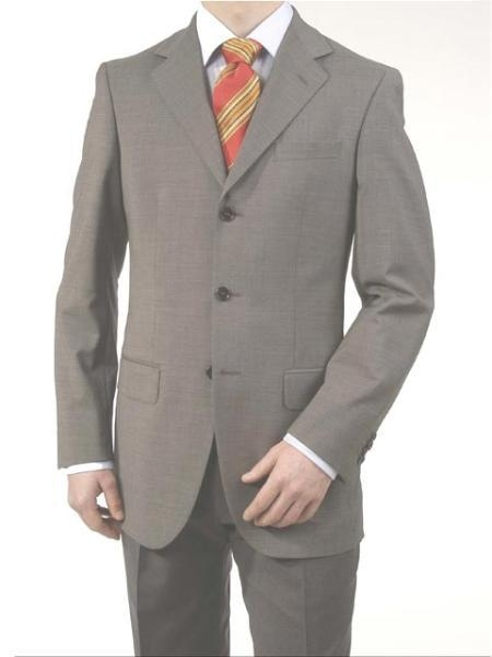 SKU#A63_3P Mens Midium Gray Light Gray 3 Buttons fully lined On Sale