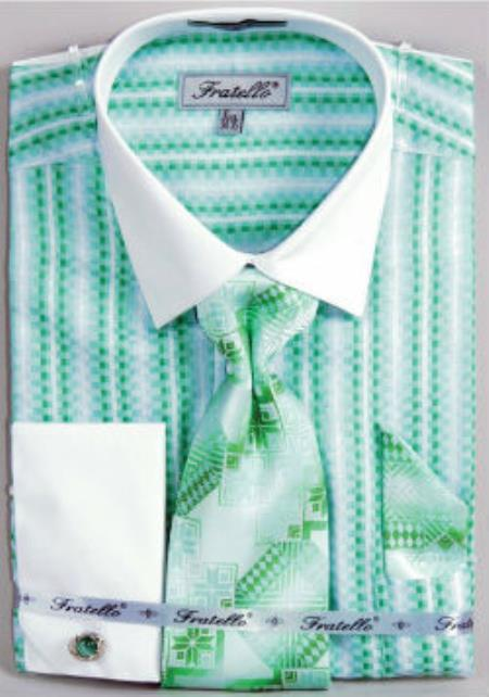 a04b84881df Mens Fratello Jacquard Two Tone French Cuff Dress Shirt Set Mint White  Collar Two Toned Contrast