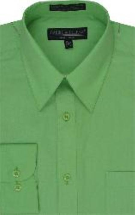 Men's Dress Shirt lime mint Green ~ Apple ~ Neon Bright Green