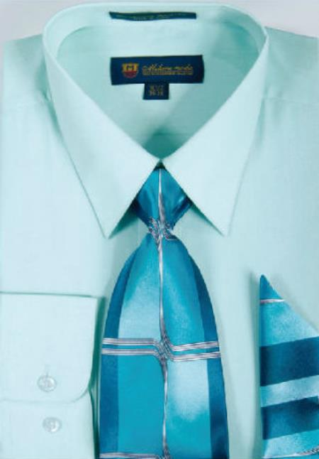 Mint Standard Cuff Classic Cotton Men's Dress Shirt