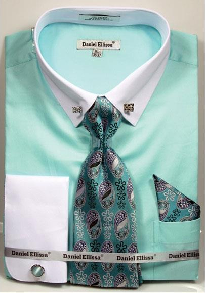 Men's Solid Pattern French Cuff 100% Cotton Mint Fashion Shirt with Tie & Hanky Set