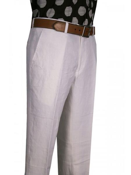 Mens Modern Fit Flat Front Wide Leg Pleated Pant White