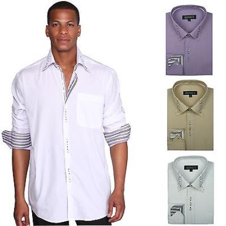 Stylish Unique 3 Square Button 6 Colors Style Multi-Color Men's Dress Shirt With Tie
