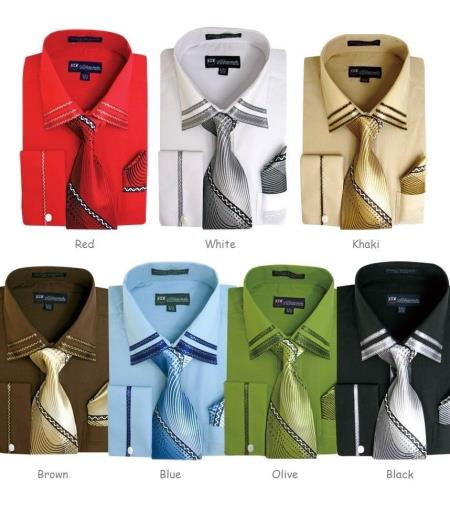 Solid Spread Collar Set French Cuff Classic Fit Multi-color Mens Dress Shirt