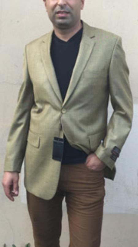 Mens Mustard ~ Khaki ~ Tan ~ Beige ~ Goldish Weave With Tint of Blue Pindot pattern Blazer Sport coat