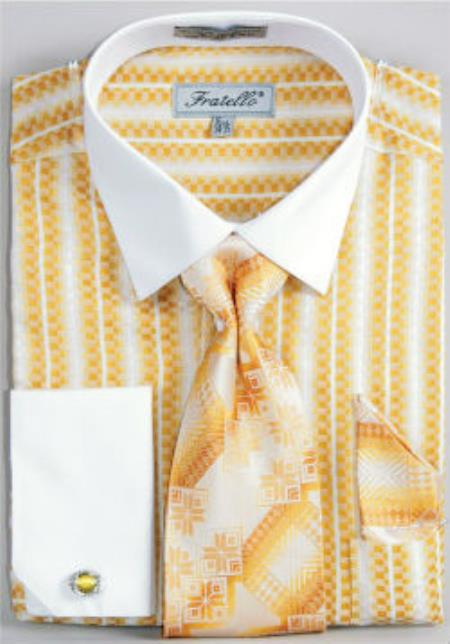 Fratello Jacquard Two Tone French Cuff Set Mustard White Collar Two Toned Contrast Men's Dress Shirt