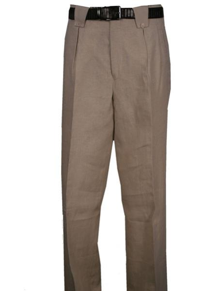 Men's Linen Wide Leg Pleated Pant With Lining Natural Men's Wide Leg Trousers