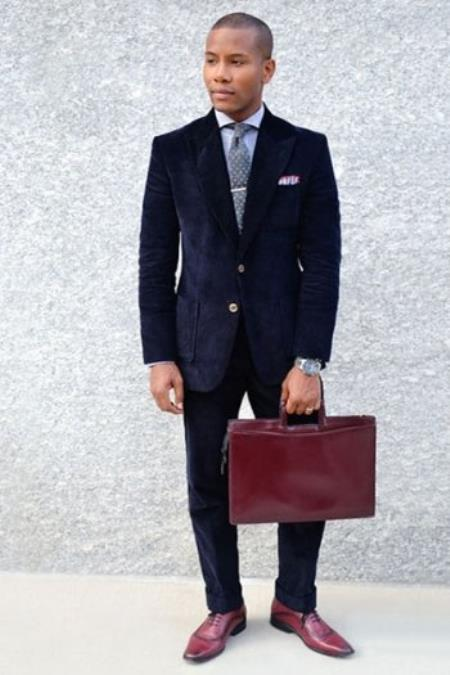 Mens Dark Navy Blue Suit For Men Corduroy Cotton Suit 2 Button Style + Jacket Sport coat + Pants