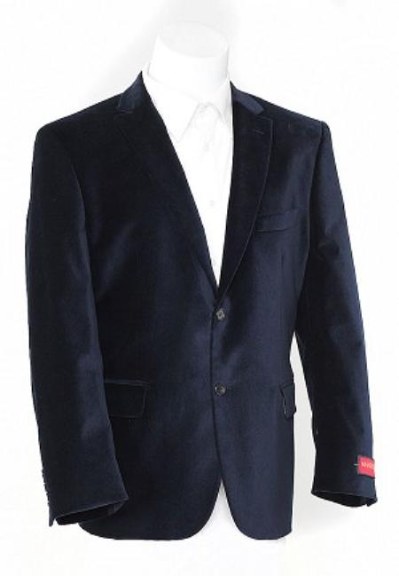 SKU#NS9996 Mens Navy Blue 2 Button Velvet Sports Jacket