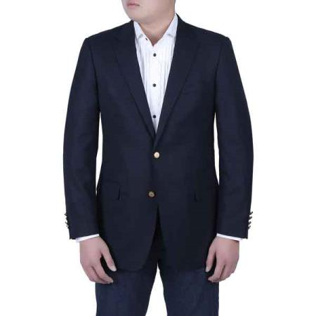 Men's Navy Blue Italian Style Blazer with Brass Buttons Classic Fit