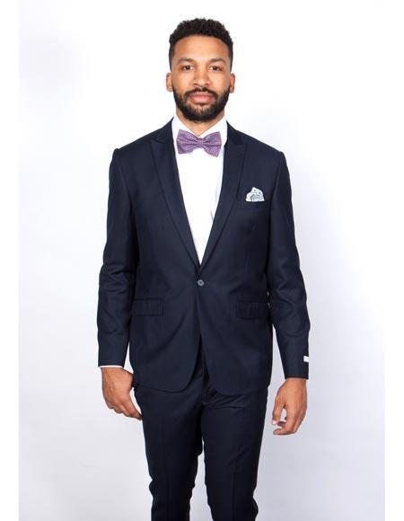 Mens Navy Blue Rossiman Rossi Slim Fit Peak Lapel Suit