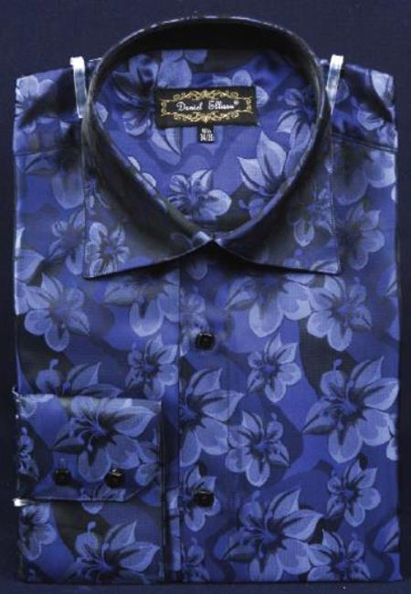 Navy Blue thick mandarin band Fancy Polyester Shirt