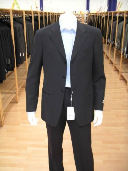 SKU# BGI-54 Mens Navy Blue Mens Single Breasted Discount Cheap Dress 3/4 Button Cheap Suit $79