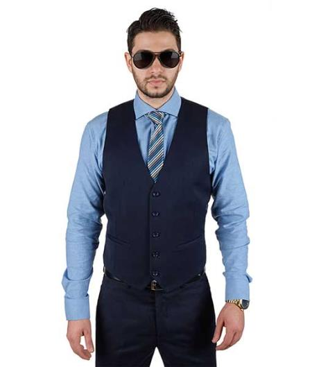 Mens Fashionable Matching 5 Button Vest + Pleated Or Flat Front Pants Slacks Dark Navy Blue Suit For Men