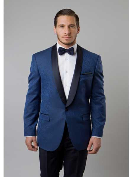 Mens Indigo ~ Bright Blue Tuxedo Floral Satin Shiny Black Lapel Two Toned Blazer Dinner Jacket Paisley Sport Coat Sequin Shiny Flashy Silky Satin Stage Fancy Party Dance Stage Jacke