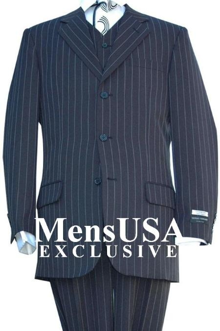 SKU#V3RS8 Highest Quality Jet Liquid Navy Blue & Chalk Bold White Pinstripe Vested Mens Dress three piece suit Super 120s Super fine Wool feel poly~rayon 1920s 30s Fashion Look 3 ~ Three Piece Suit Available in 2 or 3 buttons