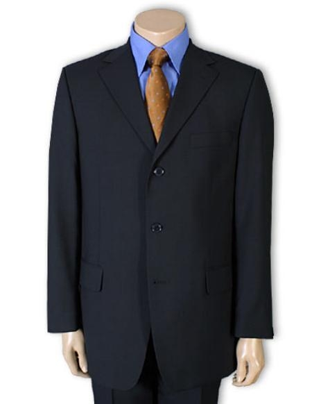 SKU# SL65 Men's Dark Navy Blue 100% Pure wool feel poly~rayon. (SUPER 120) 3 buttons, non back vent coat style coat