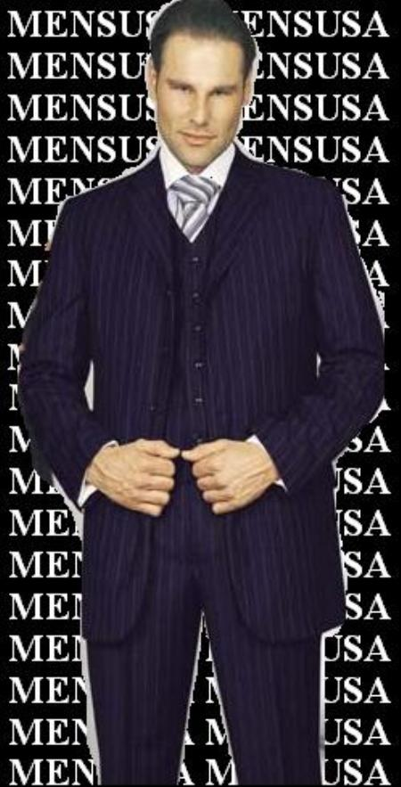 SKU# LMT448 Amazing Qality Navy Blue Pinstripe Poly~Rayon wool feel 3 ~ Three Piece Suit Vested Available in 2 buttons only