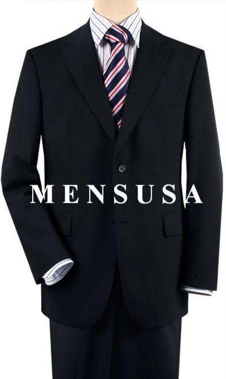 Designer Solid Dark Navy Blue Suit For Men Comes in 2 or 3 Button Wool Suit Pleated or Flat Front Pants