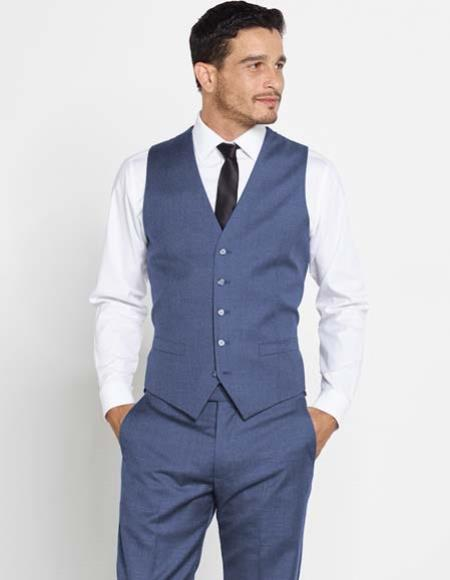 Buy SM2956 Mens Regular Fit Navy Blue Vest Matching Dress Pants Set + Color Shirt & Tie
