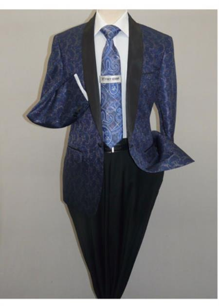 Men's Insomnia ,Sport Coat Jacket Blazer Shiny Paisley Performer Formal Stage Navy