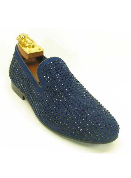 Men's Fashionable Carrucci Slip On Style Crystal Navy Shoes
