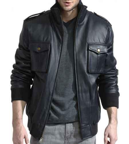 Mens Lambskin Leather Military With Knit Trim Navy Big and Tall Bomber Jacket