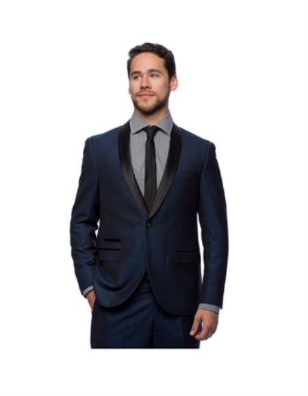 West End Mens Young Look Slim Fit Collar Satin-Detailed Tuxedo Dark Navy  - Dark Blue Suit Color