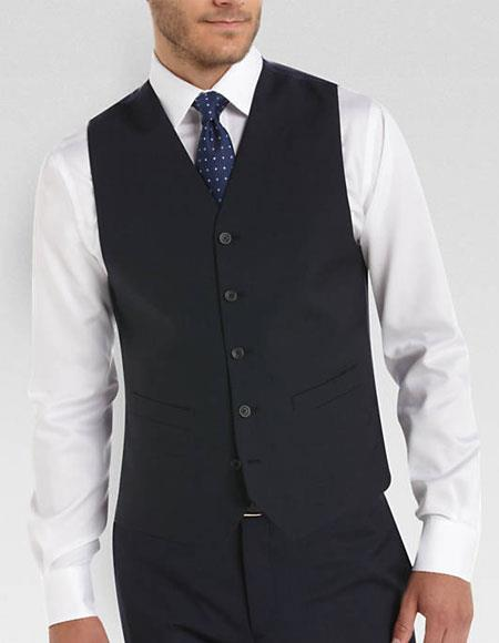 Mens Any Color Matching Dress Tuxedo Wedding Vest & Pants Set Plus Any Color Shirt & Tie Or Bow Tie Set Package Navy