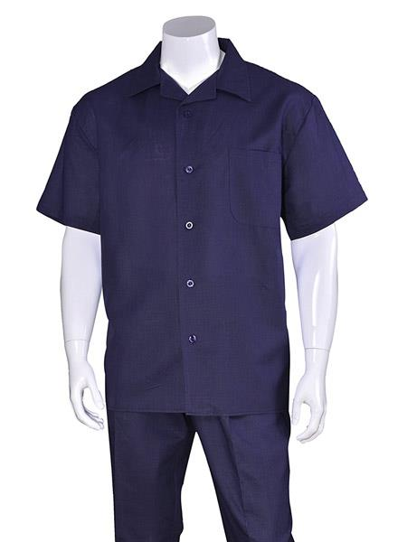 Mens Dark Navy 100% Linen Short Sleeve Plain Casual Casual Two Piece Walking Outfit For Sale Pant Sets Suit With Pleated Pant