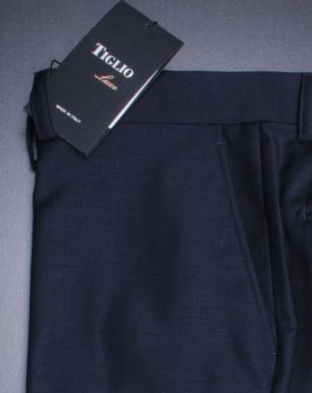 Tiglio Mens Premium Navy Flat Front Pants 100% Fine Italian Wool