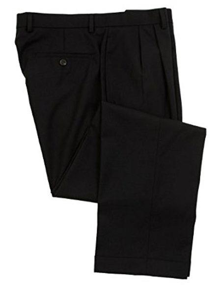 Ralph Lauren 100% Wool Double-Reverse Pleated Lined To The Knee Dress Pants Slacks Navy unhemmed unfinished bottom