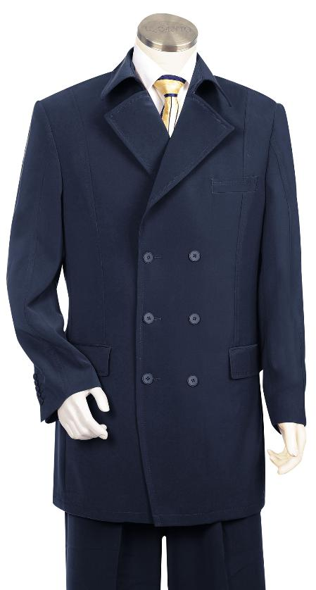 SKU#HK5647 Mens Triple Breasted 6 Button Double Breasted Fashion Suit Navy
