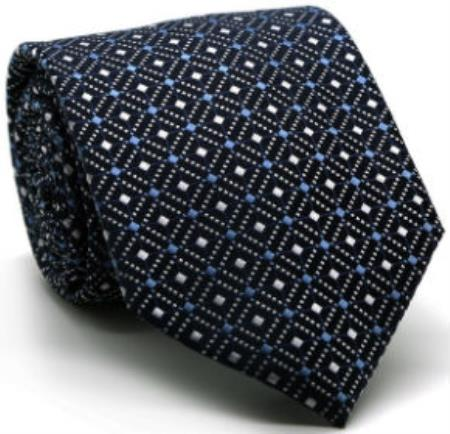 Mens Premium Double Diamond Ties Navy