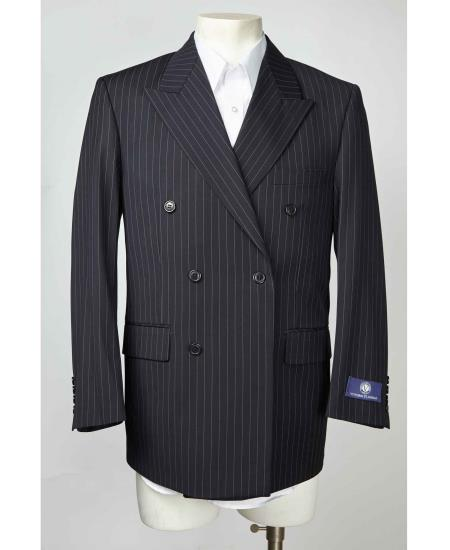 Mens Navy Pinstripe Double Breasted Sport Coat Blazer