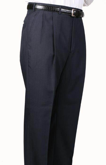 45% Worsted Wool Navy Somerset Double-Pleated Slacks / Dress Pants Trouser Harwick Made In USA America unhemmed unfinished bottom