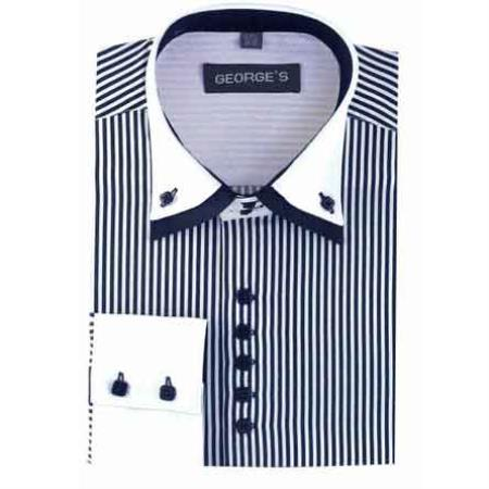 Buy SM481 Men's Navy Standard Cuff Long Sleeve White Collar Two Toned Contrast Dress Shirt Two Tone Striped White Collared Contrast