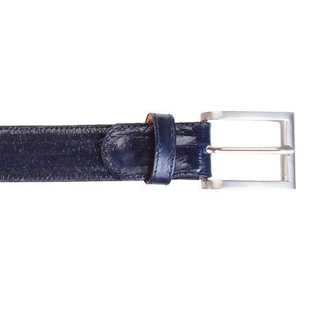 SKU#KA7202 Navy Genuine Eel Belt