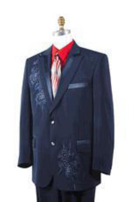 Mens Dark Navy Poly Woven Rhinestone Entertainer Suit