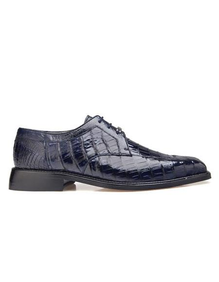 Susa Authentic Genuine Skin Italian Mens  Genuine Crocodile Navy Leather Lining Shoes