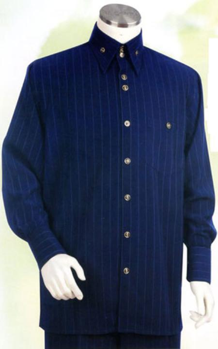 SKU#HK964 Mens Navy Long Sleeve 2pc Set including Matching Wide Leg Dress Pants