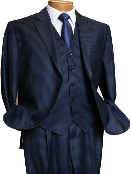 2BV Mens 3 Piece Dark Navy blue Suit For Men Mini Pinstripe ~ Stripe Conservative Italian Design Suit Vested Side Vent Flat Front Pants