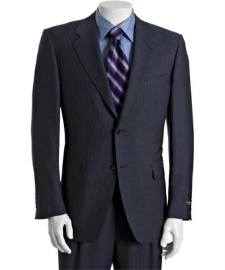 SKU# BER_TZ31 Mens Navy Pinstriped Wool-Mohair 2-Button Suit with Single Pleated Cuffed Trousers