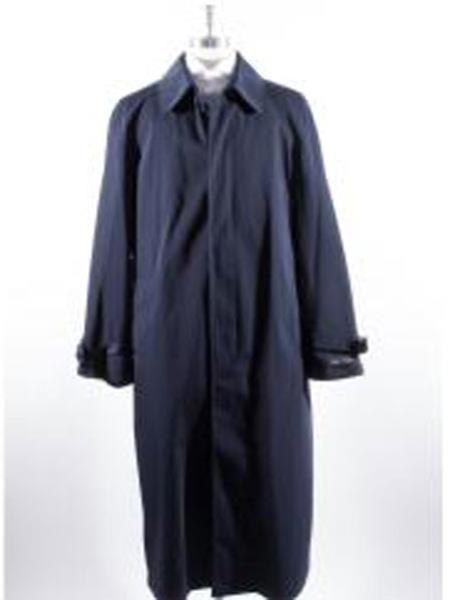 Long Full Length Mens Rain Coat Navy