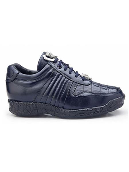 Belvedere Authentic Authentic Genuine Skin Italian Exotic Skin Brand Mens Navy Genuine Crocodile and Soft Calf Leather