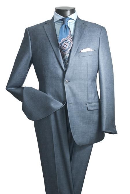 Smoky Blue ~ Mens 2 Button Slim Fit Light Blue sharkskin suit Flat Front Pants Side Vented