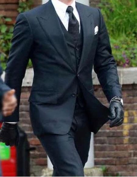 Men's Peak Lapel Wool Blend Dark Navy Two Button Spectre 3 Piece James Bond Outfit
