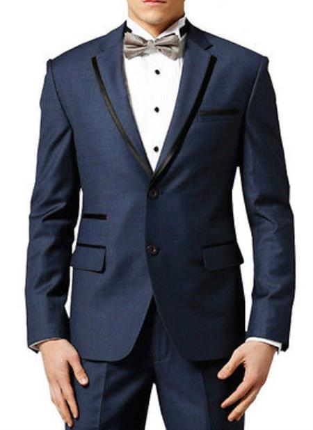 Men Dark Navy ~ Midnight blue Fashion Designer Wedding Groom Tuxedo Dinner Suit Coat Jacket Blazer Trouser