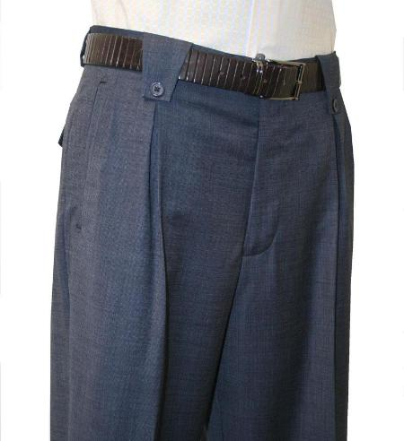 Leonardo Velenti Brand Mens Navy Wide Leg Pants unhemmed unfinished bottom