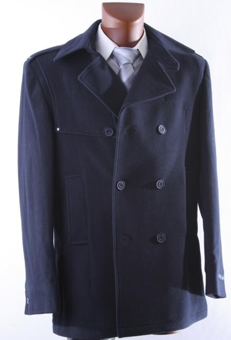 50s Men's Jackets| Greaser Jackets, Leather, Bomber, Gaberdine MENS DOUBLE BREAST NAVY LUXURY WOOL WINTER COAT $175.00 AT vintagedancer.com